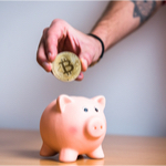 piggy bank with bitcoins